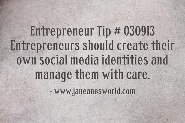 www.janeanesworld.com entrepreneurs create and manage social media identity