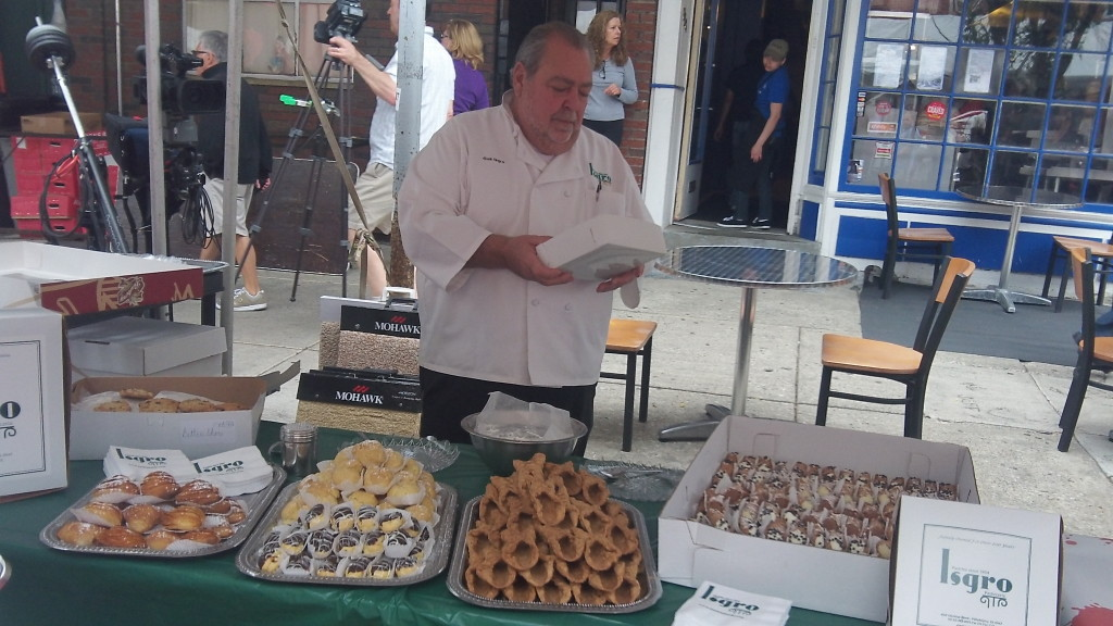 Chef Gus of Isgro Pasticceria and his famous cannoli.