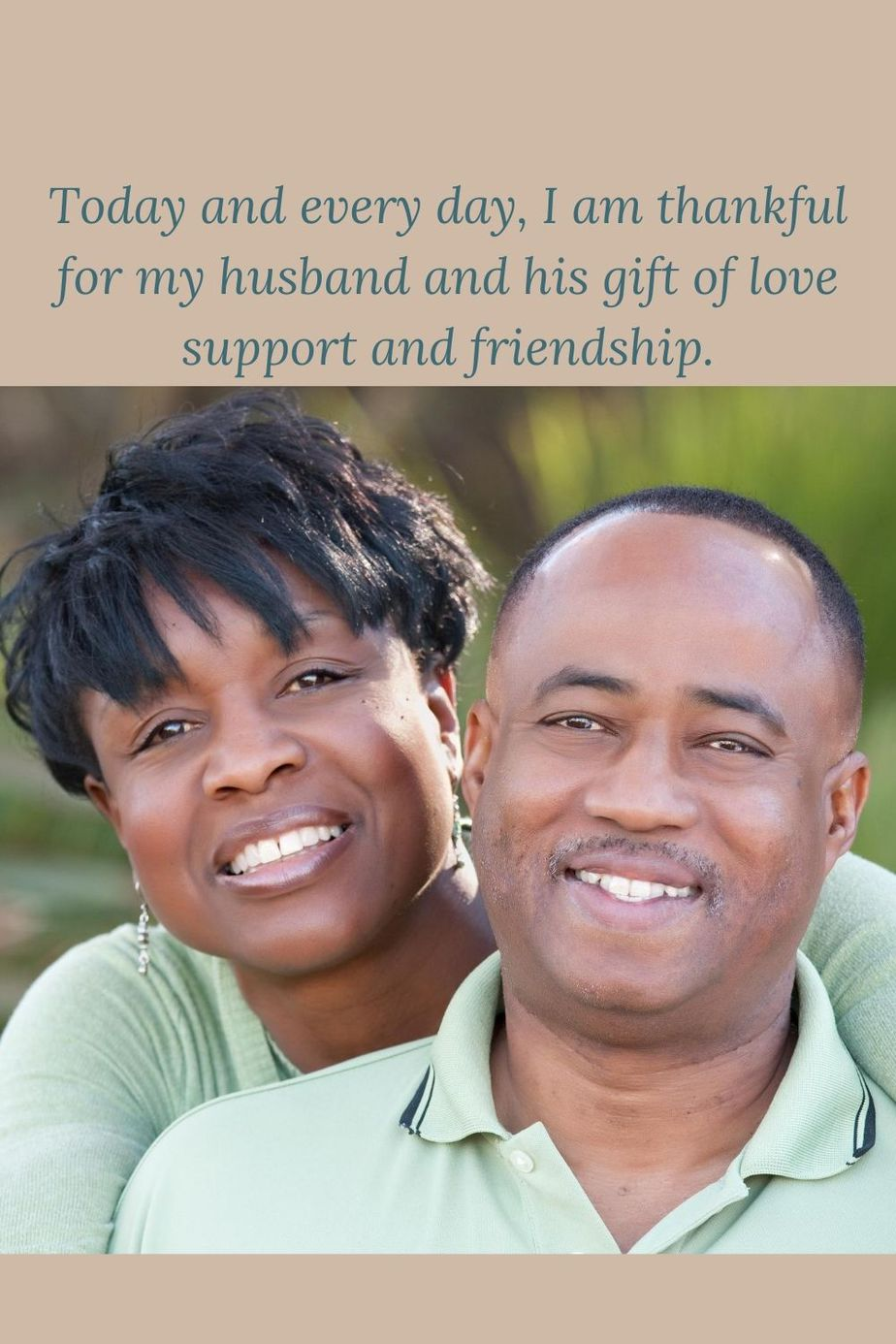 happy african american couple with words grateful for husbnd