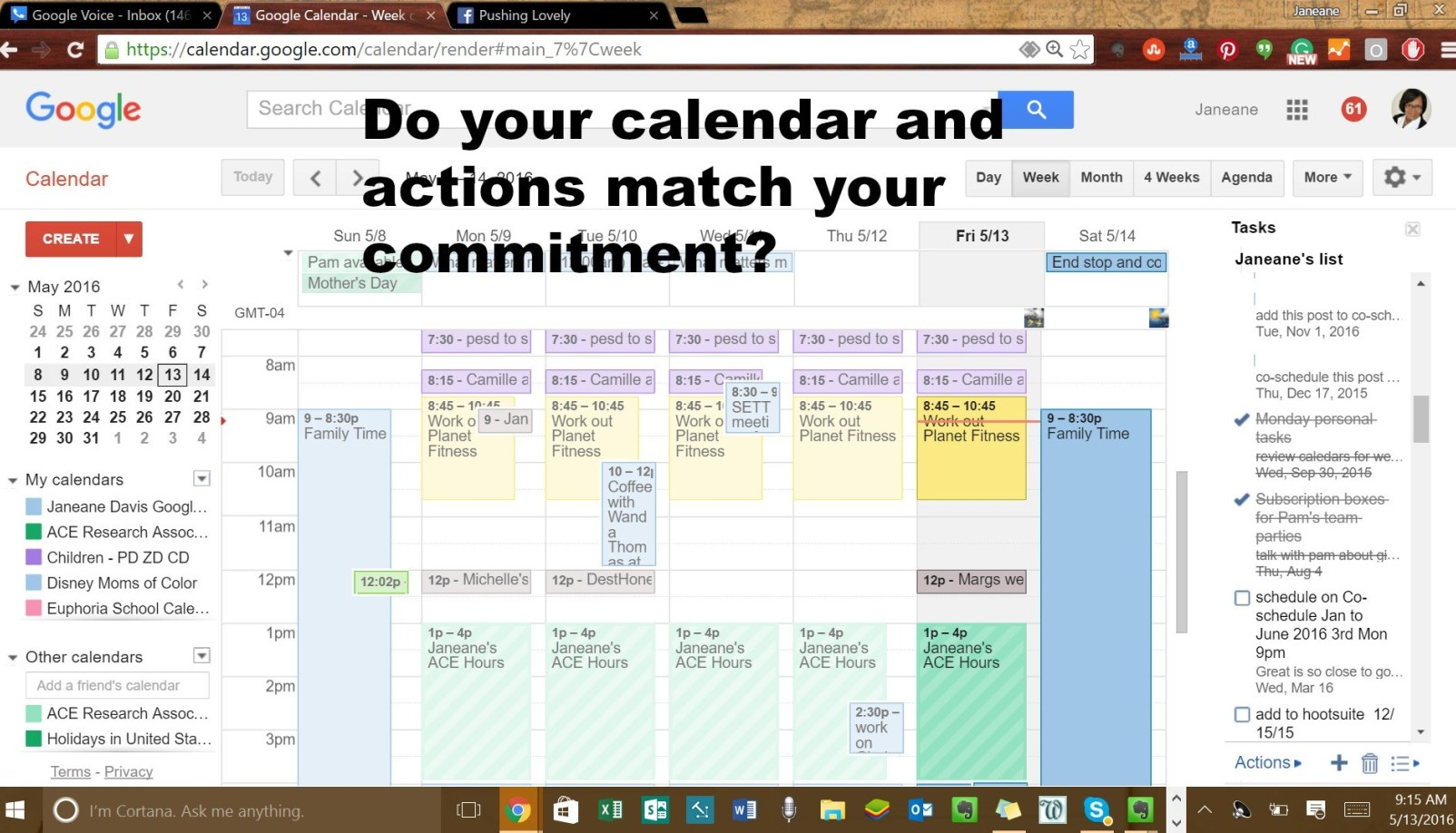 Do your calendar and actions match your committment?