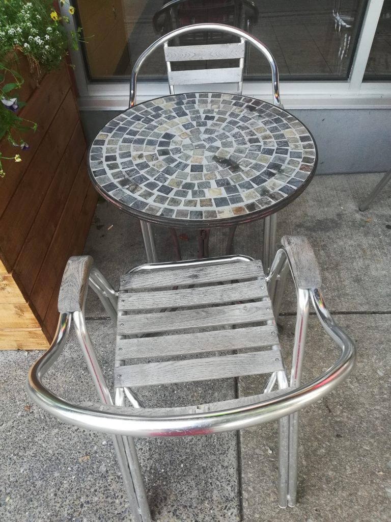 Miracle morning idea - The table and chairs pictured above greeted me this morning during my miracle morning walk.