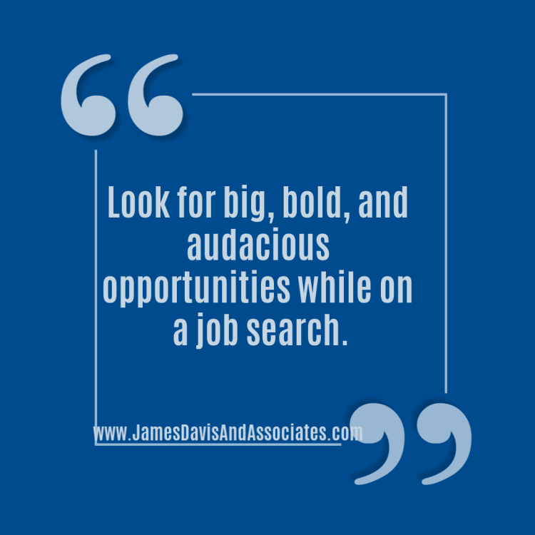 Look for big, bold, and audacious opportunities while on a job search.