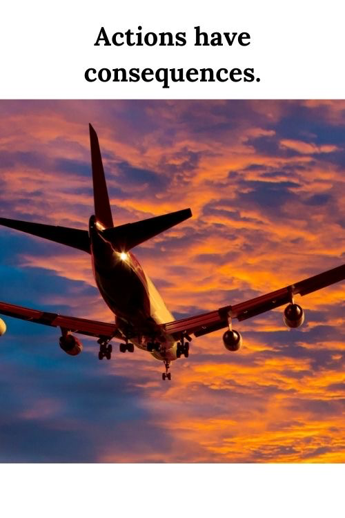 Airplane in a sunset sky and the words actions have consequences - lessons for entrepreneurs