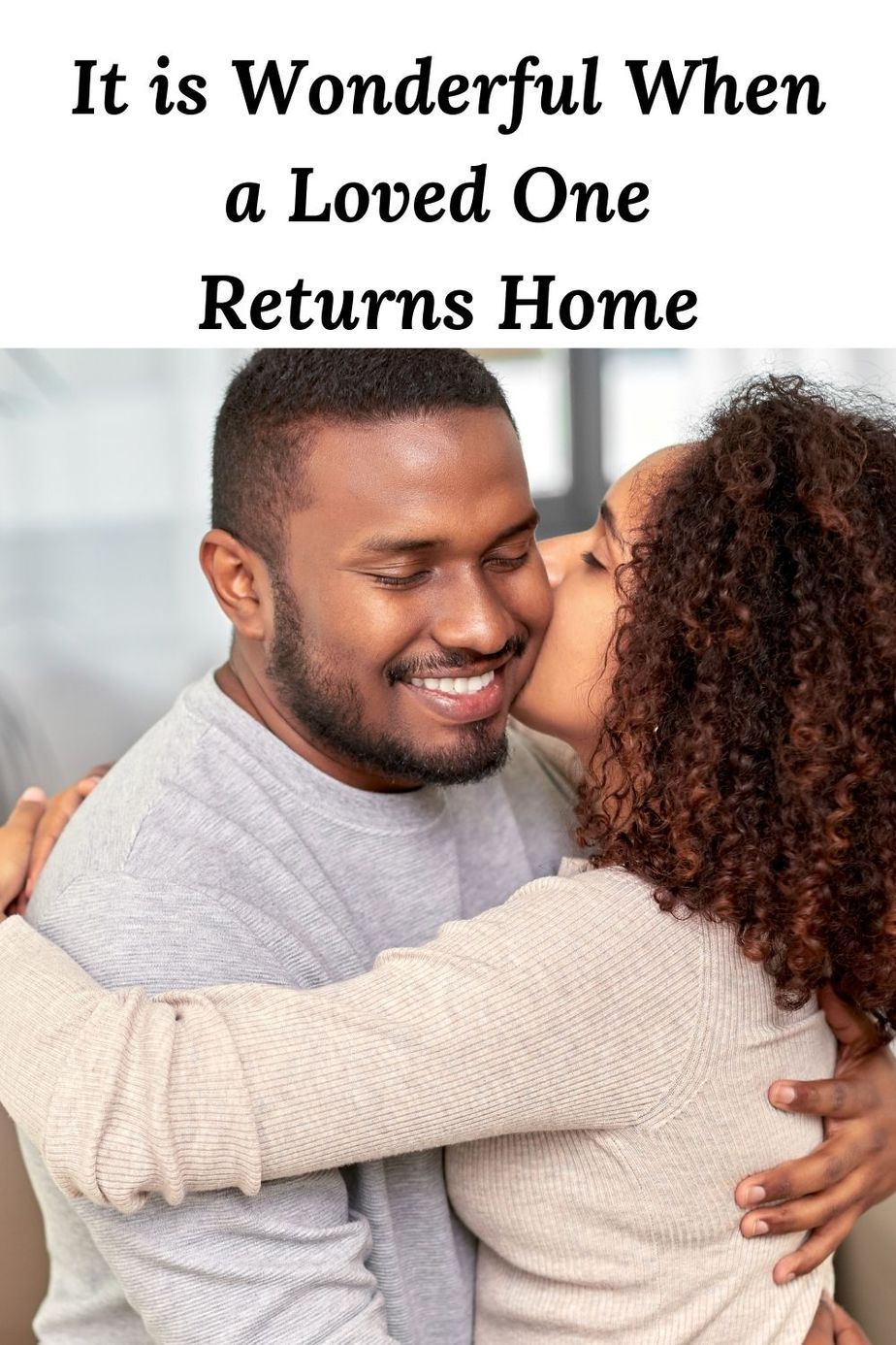 It is Wonderful When a Loved One Returns - Happy African American couple in a kiss and an embrace